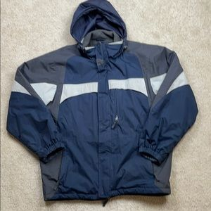 Canyon River Blues Blue & Gray Hooded Jacket Large